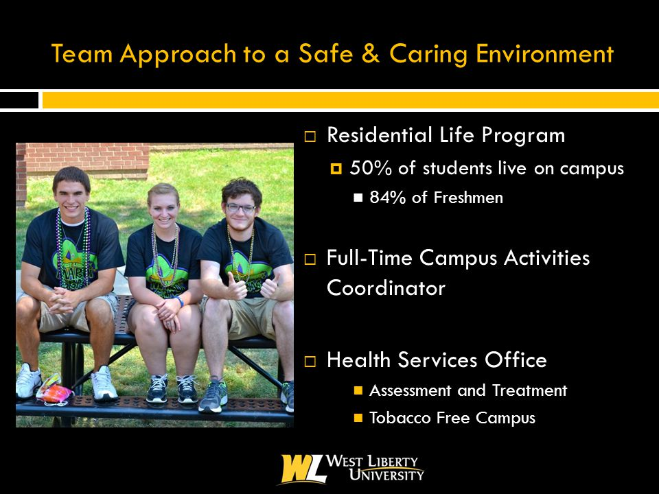Team Approach to a Safe & Caring Environment  Residential Life Program  50% of students live on campus 84% of Freshmen  Full-Time Campus Activities Coordinator  Health Services Office Assessment and Treatment Tobacco Free Campus