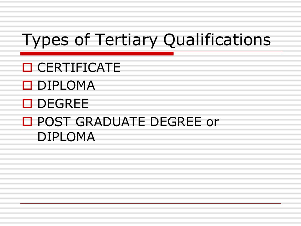 Types of Tertiary Qualifications  CERTIFICATE  DIPLOMA  DEGREE  POST GRADUATE DEGREE or DIPLOMA