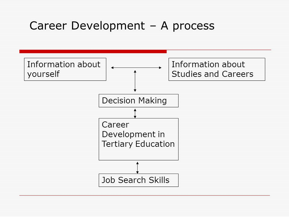 Career Development – A process Information about yourself Information about Studies and Careers Decision Making Career Development in Tertiary Education Job Search Skills