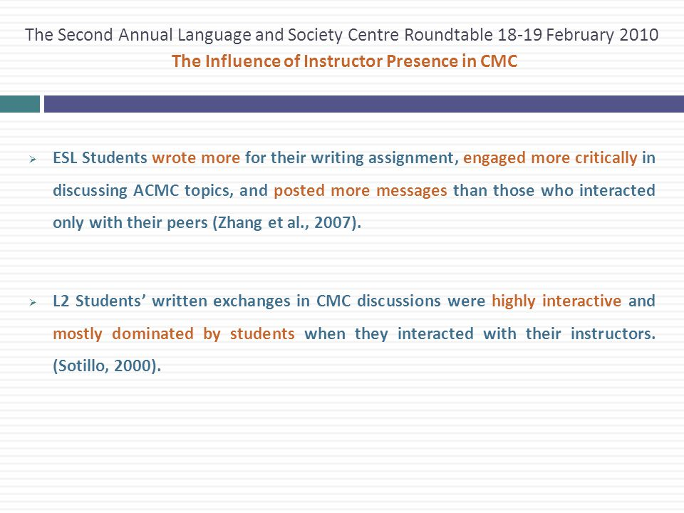  ESL Students wrote more for their writing assignment, engaged more critically in discussing ACMC topics, and posted more messages than those who interacted only with their peers (Zhang et al., 2007).