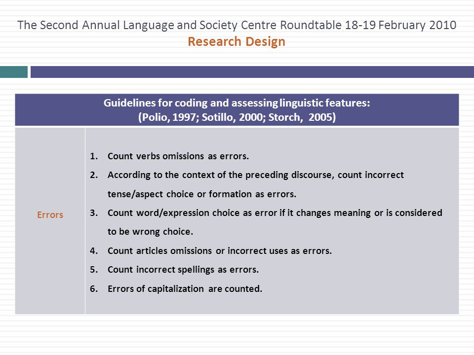 The Second Annual Language and Society Centre Roundtable 18-19 February 2010 Research Design Guidelines for coding and assessing linguistic features: (Polio, 1997; Sotillo, 2000; Storch, 2005) Errors 1.Count verbs omissions as errors.