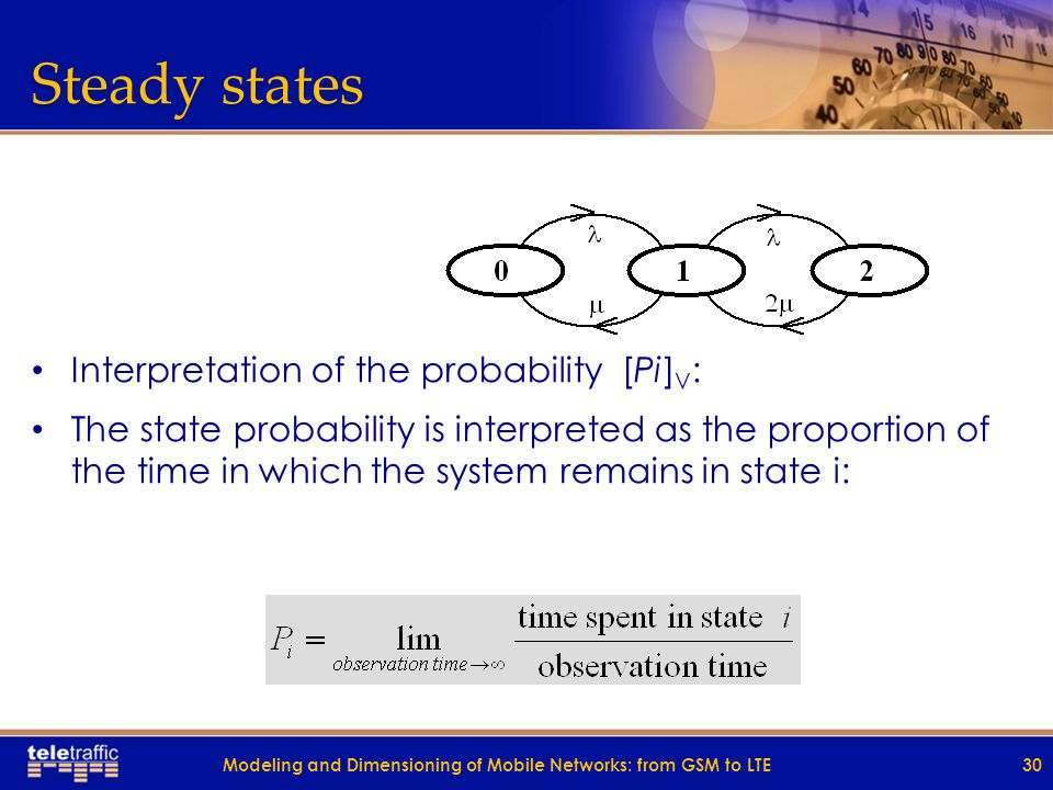 Steady states Interpretation of the probability [Pi] V : The state probability is interpreted as the proportion of the time in which the system remains in state i: 30Modeling and Dimensioning of Mobile Networks: from GSM to LTE
