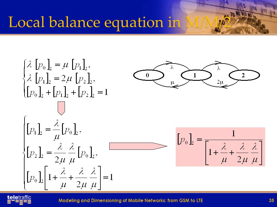 Local balance equation in M/M/2 35Modeling and Dimensioning of Mobile Networks: from GSM to LTE