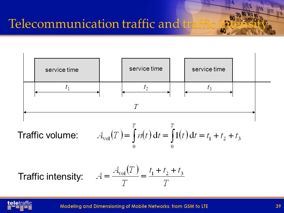 Telecommunication traffic and traffic intensity Traffic volume: Traffic intensity: service time t1t1 t3t3 t2t2 T 39Modeling and Dimensioning of Mobile Networks: from GSM to LTE