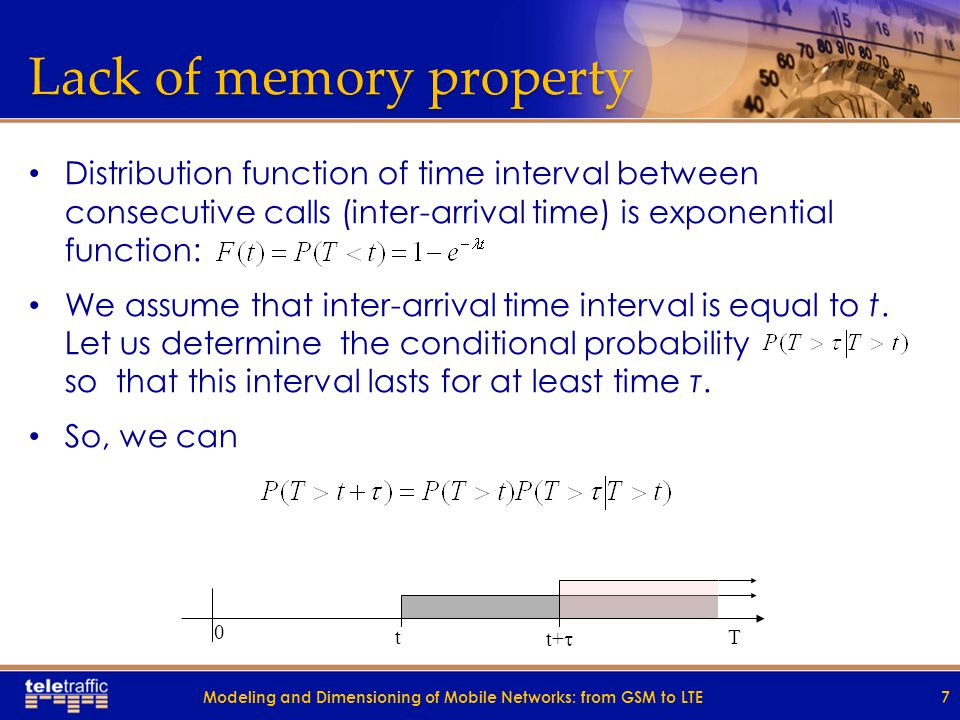 Lack of memory property Distribution function of time interval between consecutive calls (inter-arrival time) is exponential function: We assume that inter-arrival time interval is equal to t.