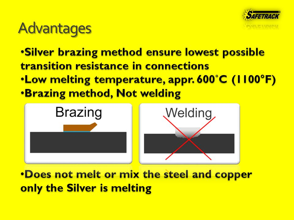 Advantages Does not melt or mix the steel and copper only the Silver is melting Does not melt or mix the steel and copper only the Silver is melting