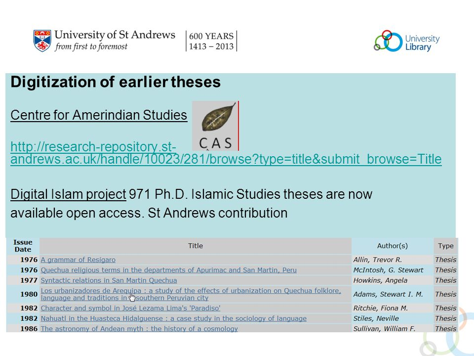 Digitization of earlier theses Centre for Amerindian Studies http://research-repository.st- andrews.ac.uk/handle/10023/281/browse type=title&submit_browse=Title Digital Islam project 971 Ph.D.