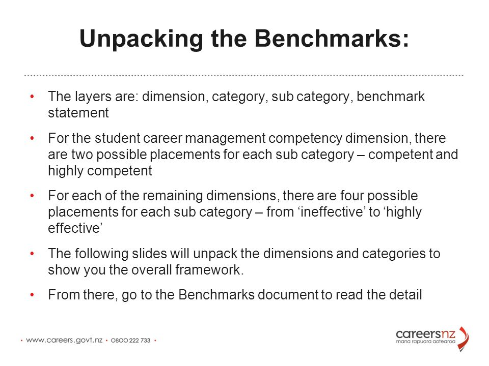 Unpacking the Benchmarks: The layers are: dimension, category, sub category, benchmark statement For the student career management competency dimension, there are two possible placements for each sub category – competent and highly competent For each of the remaining dimensions, there are four possible placements for each sub category – from 'ineffective' to 'highly effective' The following slides will unpack the dimensions and categories to show you the overall framework.