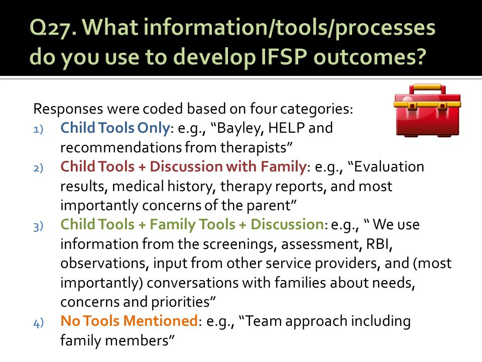 Responses were coded based on four categories: 1) Child Tools Only: e.g., Bayley, HELP and recommendations from therapists 2) Child Tools + Discussion with Family: e.g., Evaluation results, medical history, therapy reports, and most importantly concerns of the parent 3) Child Tools + Family Tools + Discussion: e.g., We use information from the screenings, assessment, RBI, observations, input from other service providers, and (most importantly) conversations with families about needs, concerns and priorities 4) No Tools Mentioned: e.g., Team approach including family members