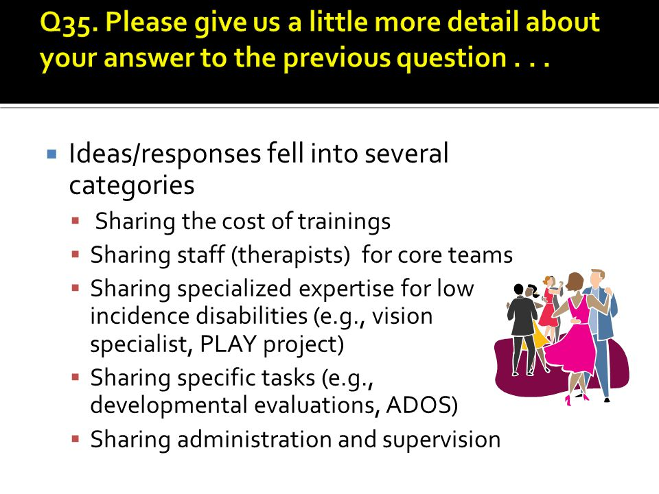  Ideas/responses fell into several categories  Sharing the cost of trainings  Sharing staff (therapists) for core teams  Sharing specialized expertise for low incidence disabilities (e.g., vision specialist, PLAY project)  Sharing specific tasks (e.g., developmental evaluations, ADOS)  Sharing administration and supervision