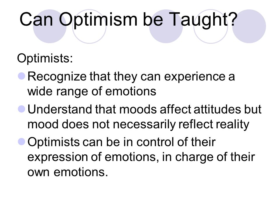 Can Optimism be Taught.