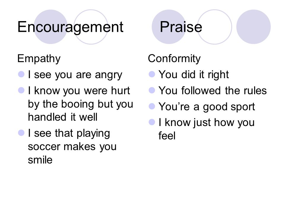EncouragementPraise Empathy I see you are angry I know you were hurt by the booing but you handled it well I see that playing soccer makes you smile Conformity You did it right You followed the rules You're a good sport I know just how you feel