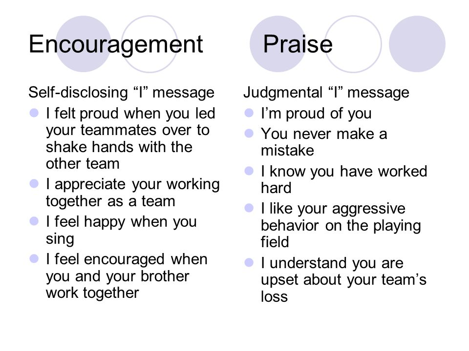 Encouragement Praise Self-disclosing I message I felt proud when you led your teammates over to shake hands with the other team I appreciate your working together as a team I feel happy when you sing I feel encouraged when you and your brother work together Judgmental I message I'm proud of you You never make a mistake I know you have worked hard I like your aggressive behavior on the playing field I understand you are upset about your team's loss