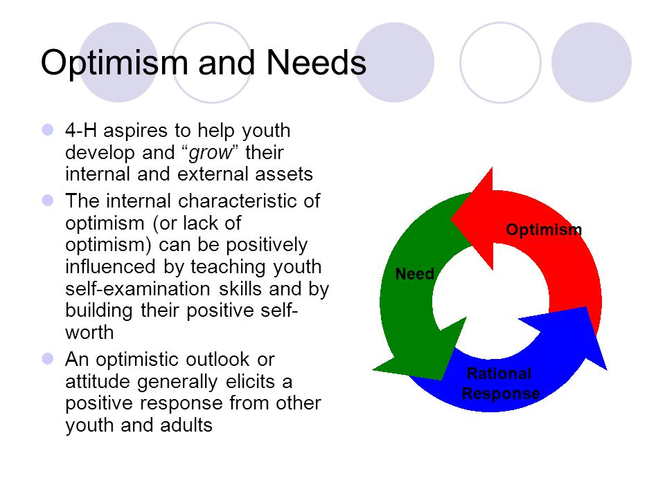 Optimism and Needs 4-H aspires to help youth develop and grow their internal and external assets The internal characteristic of optimism (or lack of optimism) can be positively influenced by teaching youth self-examination skills and by building their positive self- worth An optimistic outlook or attitude generally elicits a positive response from other youth and adults Need Rational Response Optimism