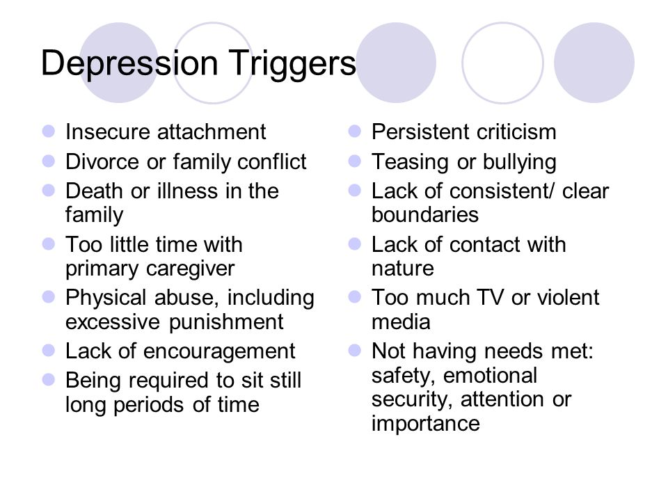 Depression Triggers Insecure attachment Divorce or family conflict Death or illness in the family Too little time with primary caregiver Physical abuse, including excessive punishment Lack of encouragement Being required to sit still long periods of time Persistent criticism Teasing or bullying Lack of consistent/ clear boundaries Lack of contact with nature Too much TV or violent media Not having needs met: safety, emotional security, attention or importance