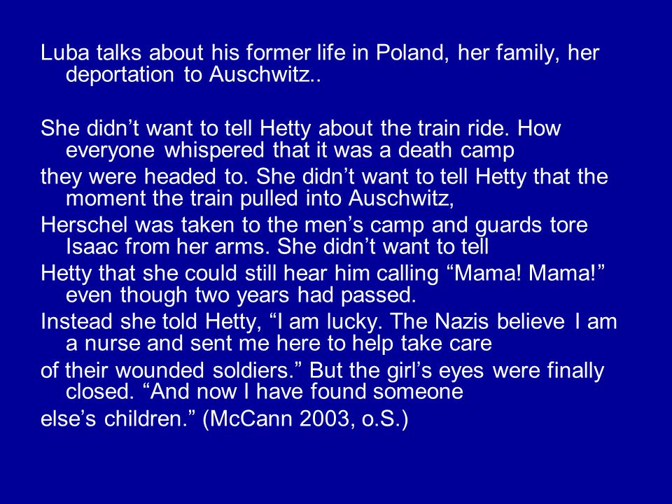 Luba talks about his former life in Poland, her family, her deportation to Auschwitz..