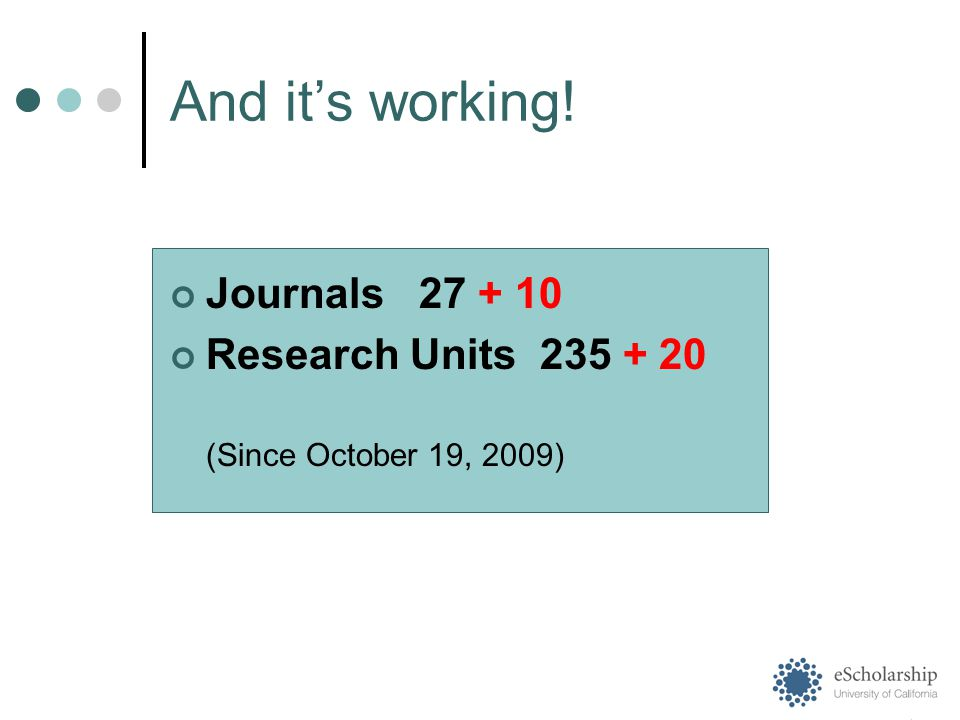 And it's working! Journals 27 + 10 Research Units 235 + 20 (Since October 19, 2009)