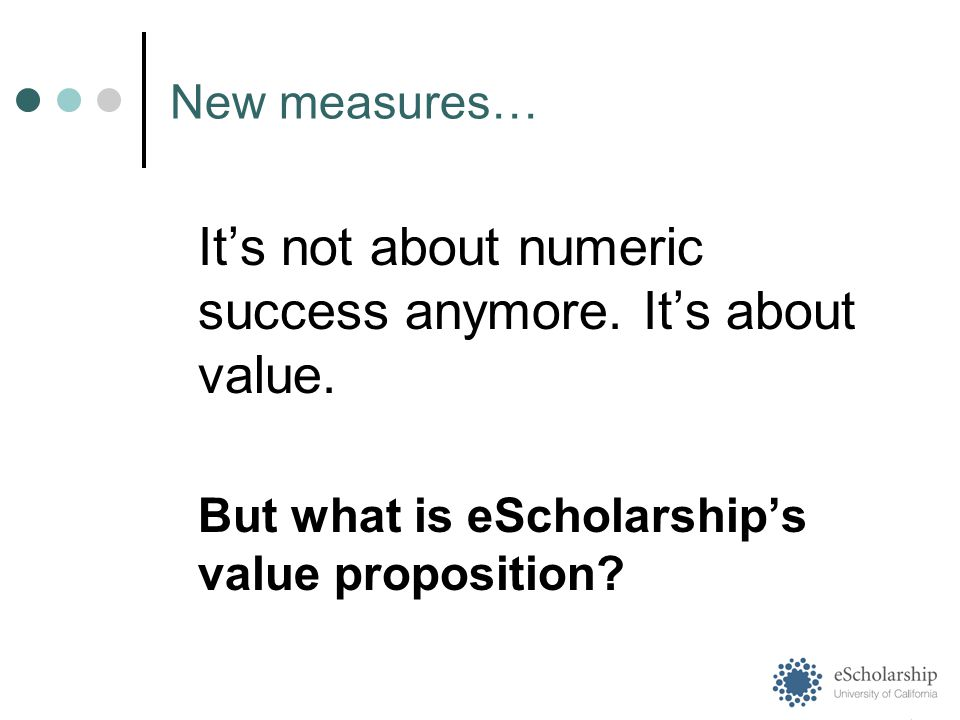 New measures… It's not about numeric success anymore.