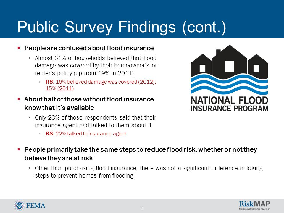 11 Public Survey Findings (cont.)  People are confused about flood insurance Almost 31% of households believed that flood damage was covered by their homeowner's or renter's policy (up from 19% in 2011)  R8: 18% believed damage was covered (2012); 15% (2011)  About half of those without flood insurance know that it's available Only 23% of those respondents said that their insurance agent had talked to them about it  R8: 22% talked to insurance agent  People primarily take the same steps to reduce flood risk, whether or not they believe they are at risk Other than purchasing flood insurance, there was not a significant difference in taking steps to prevent homes from flooding
