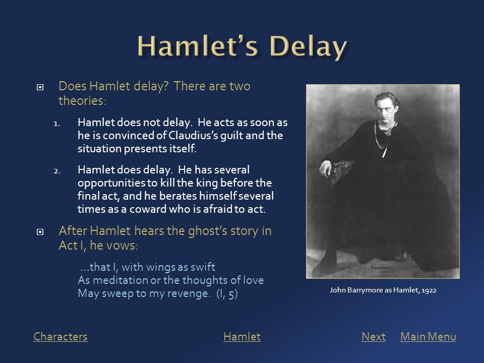  Does Hamlet delay. There are two theories: 1. Hamlet does not delay.