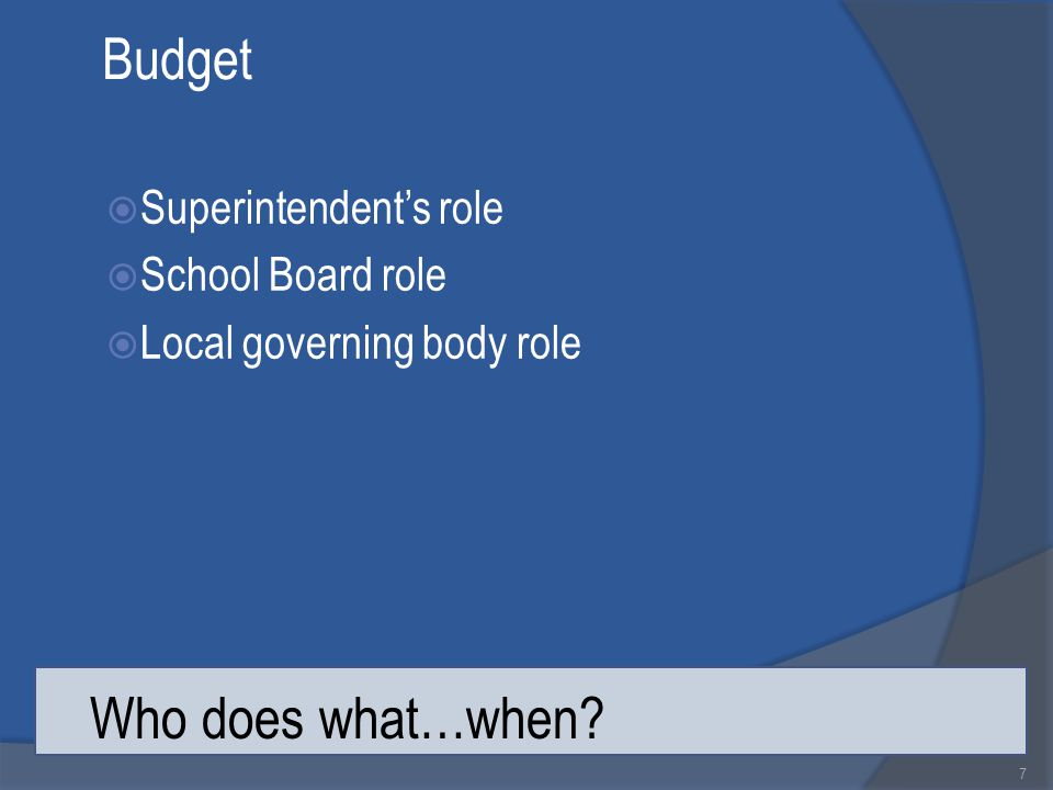 Budget  Superintendent's role  School Board role  Local governing body role 7 Who does what…when