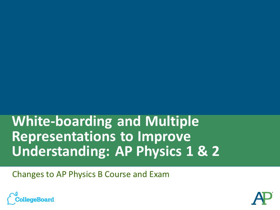 White-boarding and Multiple Representations to Improve Understanding: AP Physics 1 & 2 Changes to AP Physics B Course and Exam