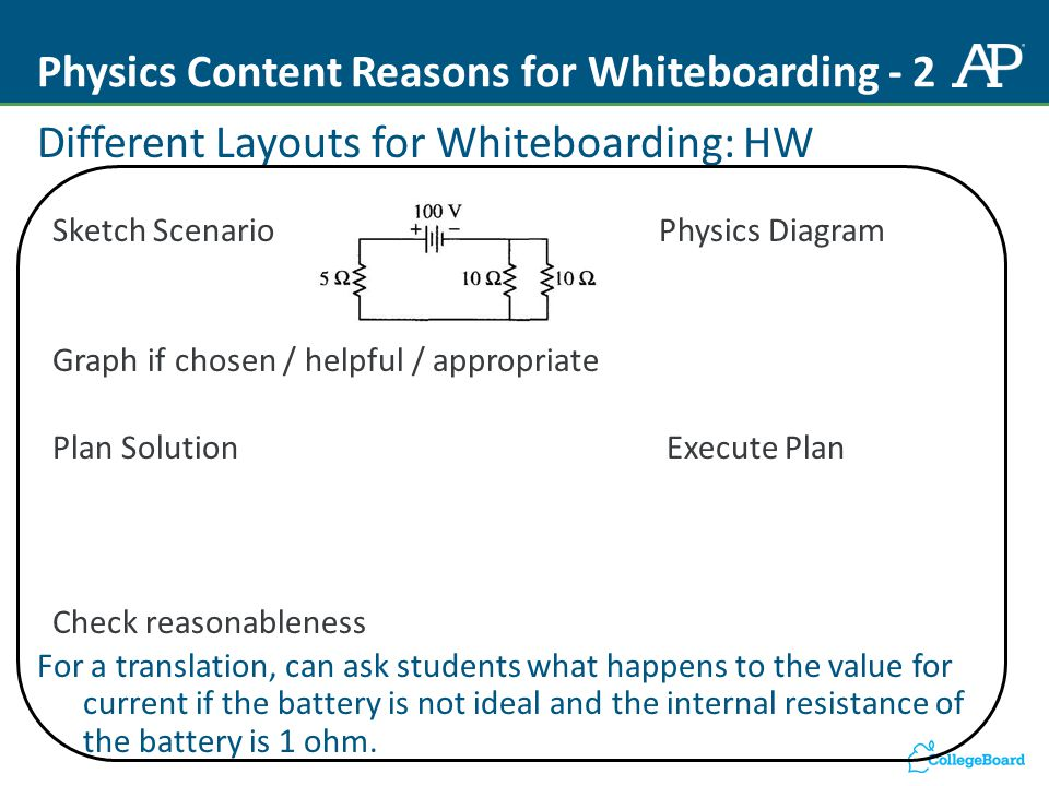 Physics Content Reasons for Whiteboarding - 2 Different Layouts for Whiteboarding: HW Sketch Scenario Physics Diagram Graph if chosen / helpful / appropriate Plan SolutionExecute Plan Check reasonableness For a translation, can ask students what happens to the value for current if the battery is not ideal and the internal resistance of the battery is 1 ohm.