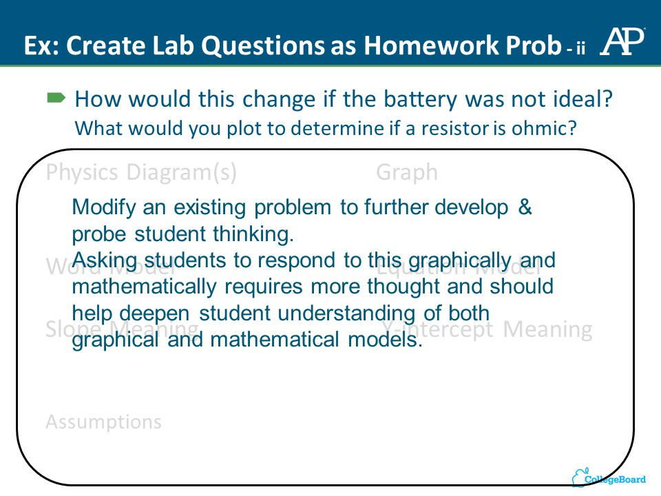 Ex: Create Lab Questions as Homework Prob - ii  How would this change if the battery was not ideal.