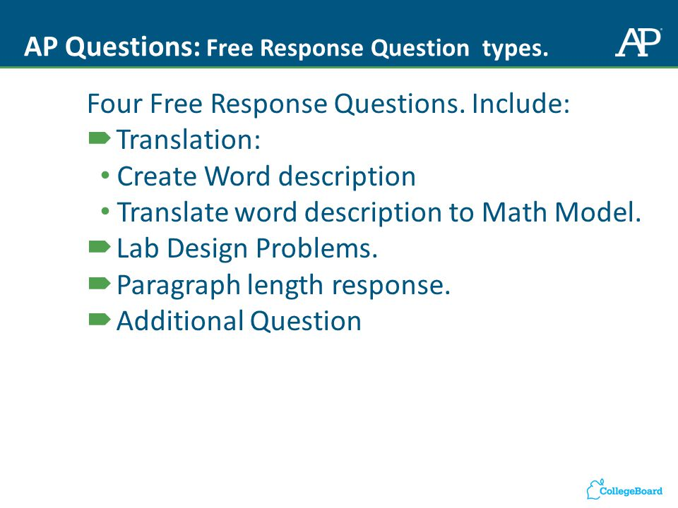 AP Questions: Free Response Question types. Four Free Response Questions.