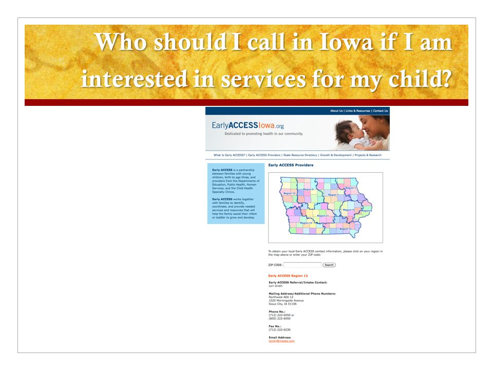 Who should I call in Iowa if I am interested in services for my child