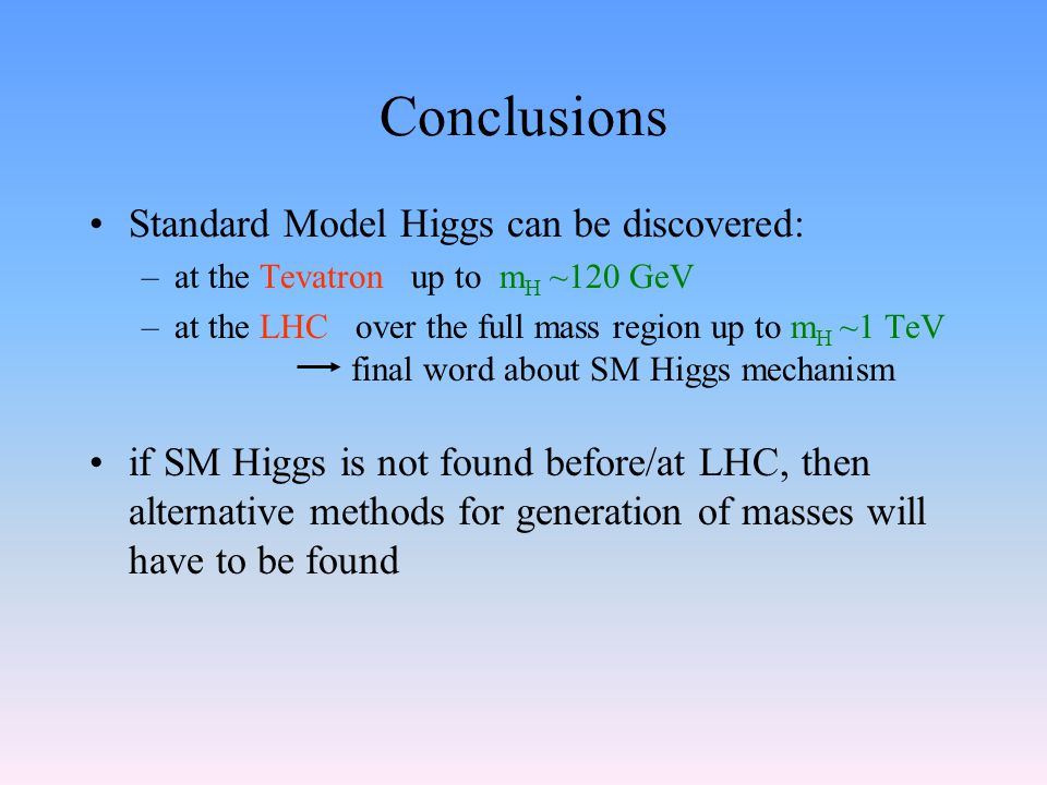 Conclusions Standard Model Higgs can be discovered: –at the Tevatron up to m H ~120 GeV –at the LHC over the full mass region up to m H ~1 TeV final word about SM Higgs mechanism if SM Higgs is not found before/at LHC, then alternative methods for generation of masses will have to be found