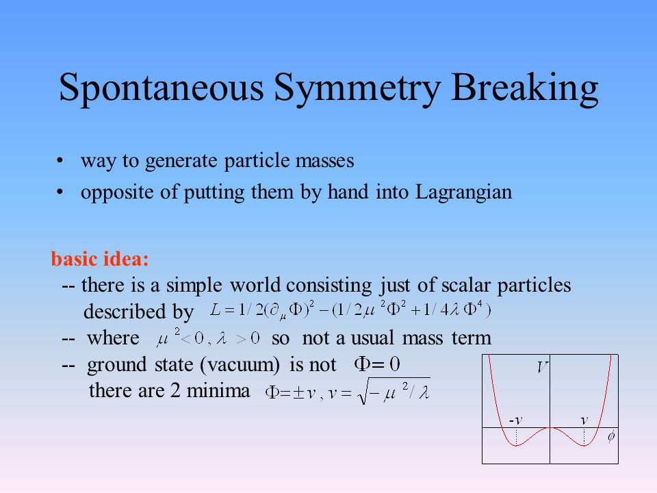 Spontaneous Symmetry Breaking way to generate particle masses opposite of putting them by hand into Lagrangian basic idea: -- there is a simple world consisting just of scalar particles described by -- where so not a usual mass term -- ground state (vacuum) is not there are 2 minima