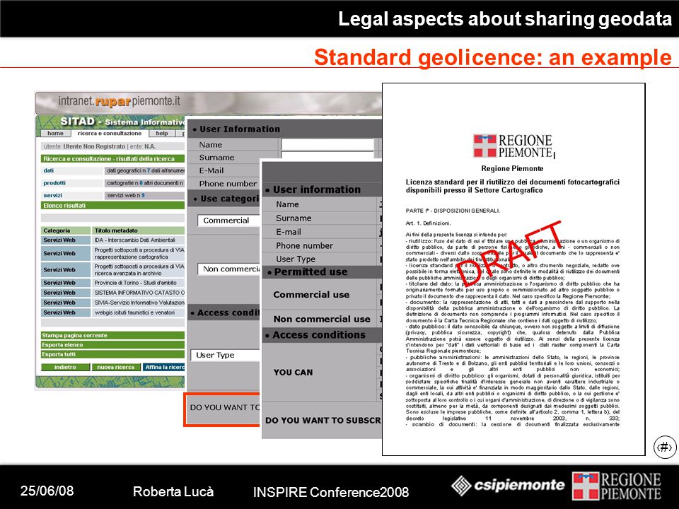 25/06/08 Roberta Lucà INSPIRE Conference2008 Legal aspects about sharing geodata 21 Standard geolicence: an example