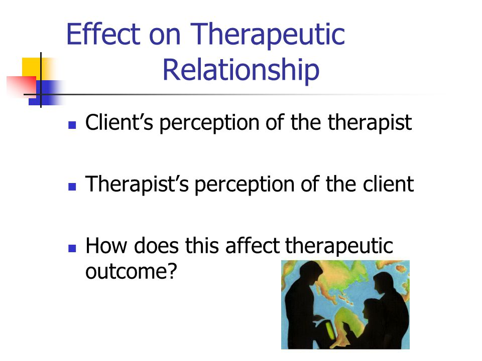 Effect on Therapeutic Relationship Client's perception of the therapist Therapist's perception of the client How does this affect therapeutic outcome