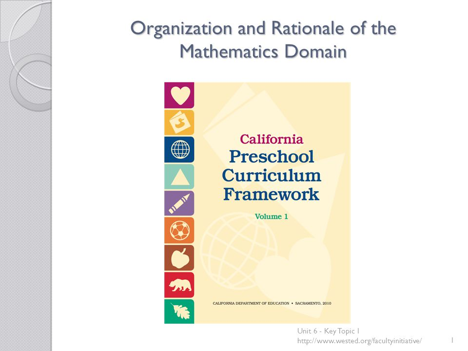 Organization and Rationale of the Mathematics Domain Unit 6 - Key Topic 1 http://www.wested.org/facultyinitiative/1