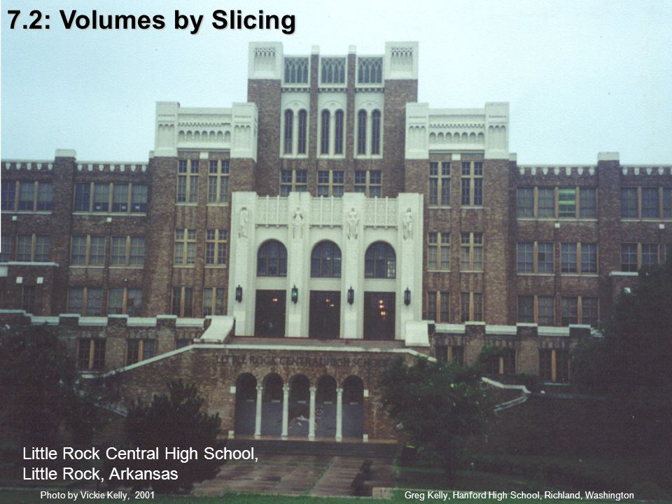7.2: Volumes by Slicing Greg Kelly, Hanford High School, Richland, WashingtonPhoto by Vickie Kelly, 2001 Little Rock Central High School, Little Rock, Arkansas