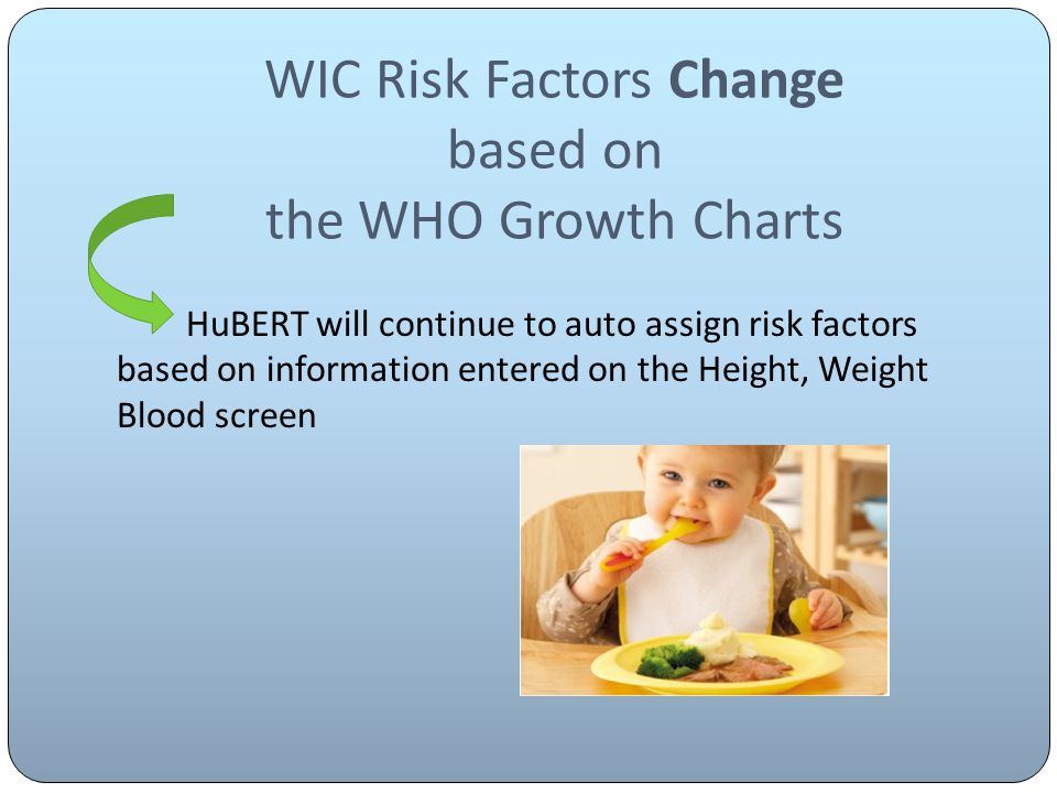 WIC Risk Factors Change based on the WHO Growth Charts HuBERT will continue to auto assign risk factors based on information entered on the Height, Weight Blood screen