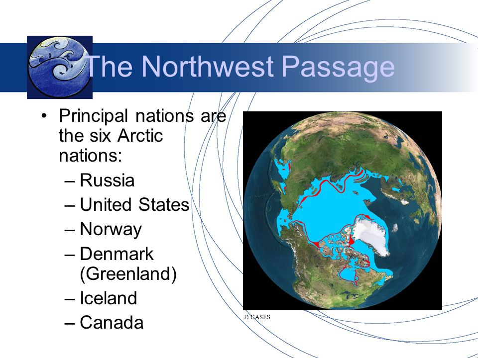 The Northwest Passage Principal nations are the six Arctic nations: –Russia –United States –Norway –Denmark (Greenland) –Iceland –Canada © CASES
