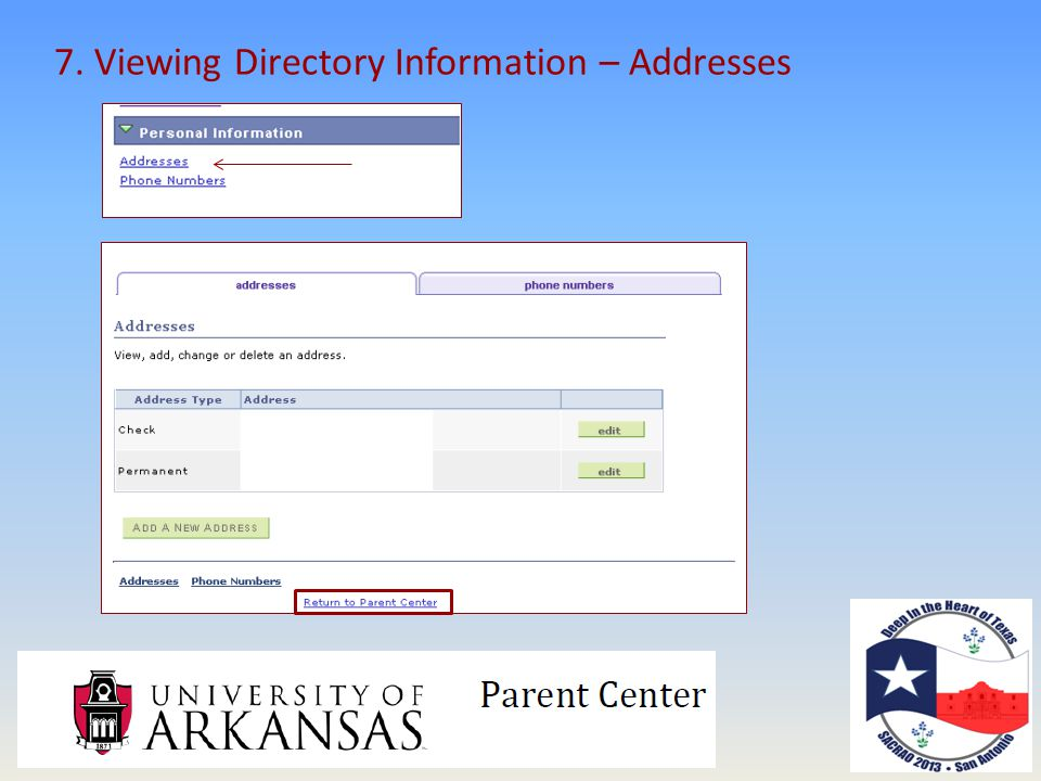 7. Viewing Directory Information – Addresses