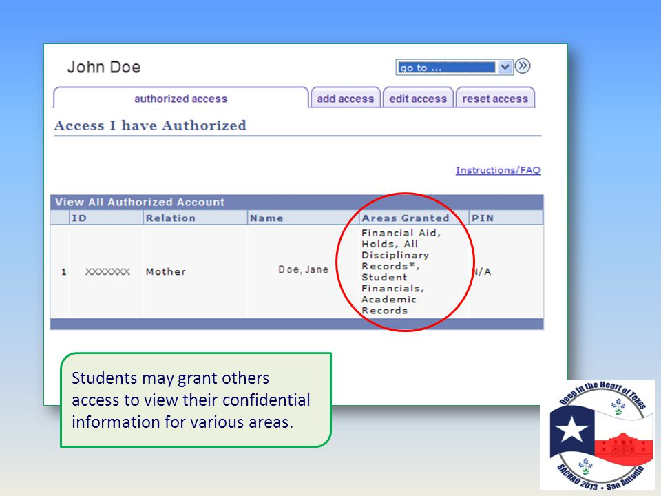 Students may grant others access to view their confidential information for various areas.