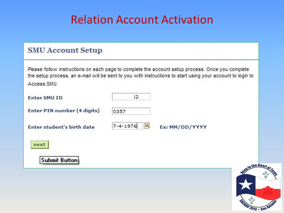 Relation Account Activation