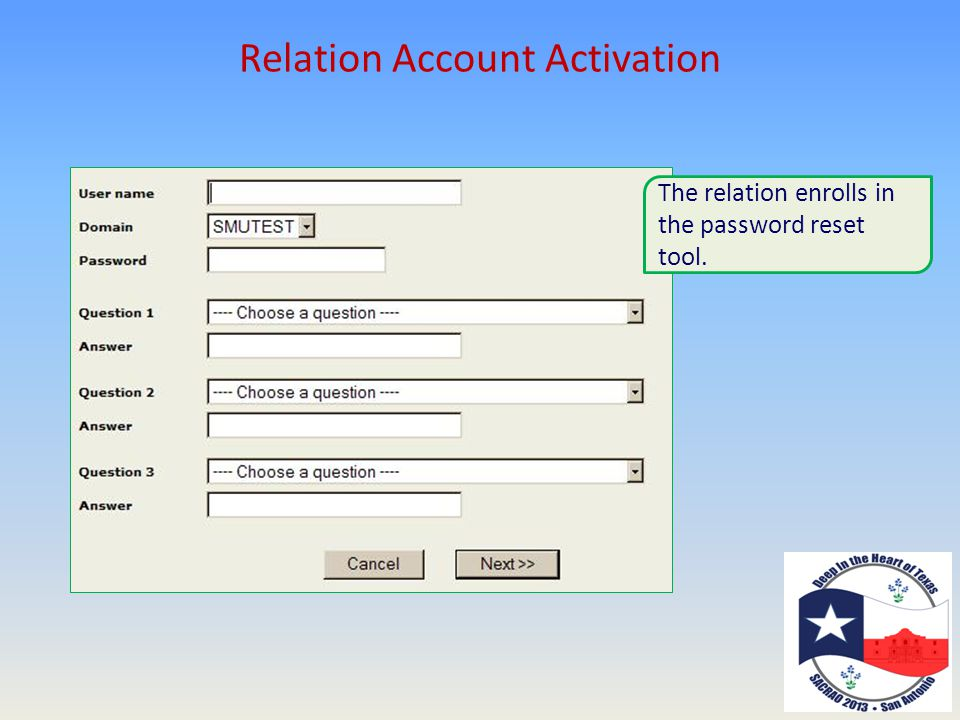 Relation Account Activation The relation enrolls in the password reset tool.