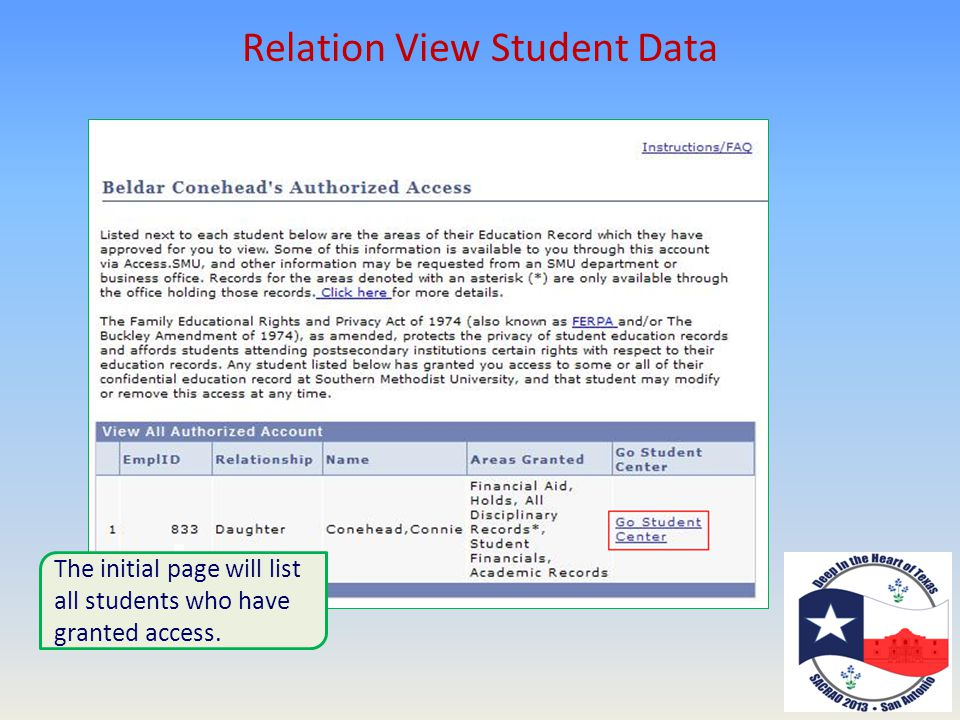 Relation View Student Data The initial page will list all students who have granted access.
