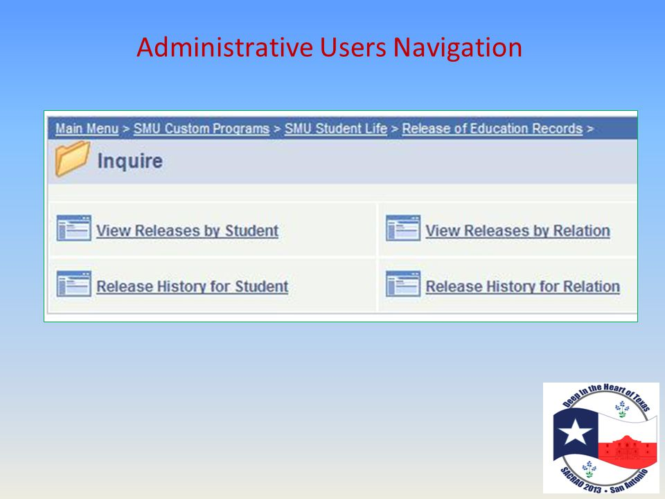 Administrative Users Navigation