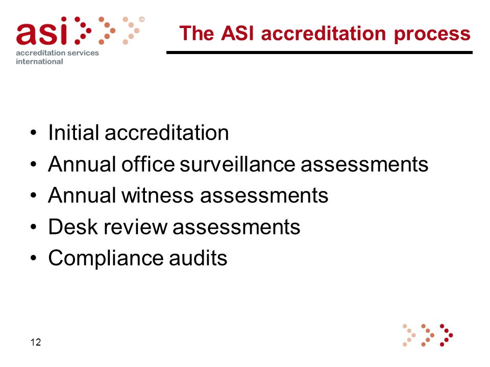 The ASI accreditation process Initial accreditation Annual office surveillance assessments Annual witness assessments Desk review assessments Compliance audits 12