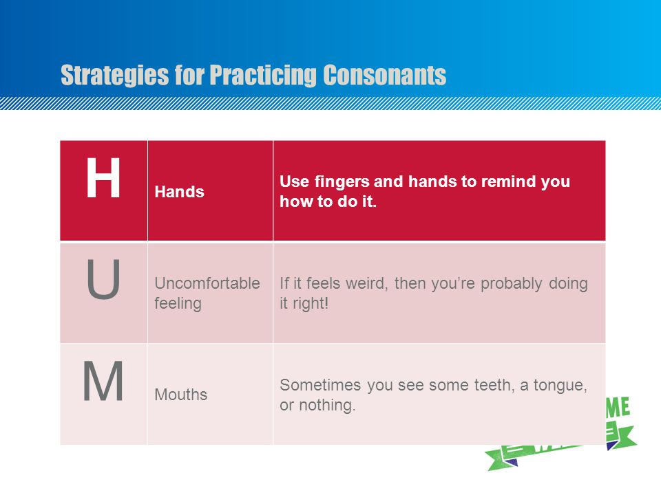 Strategies for Practicing Consonants H Hands Use fingers and hands to remind you how to do it.