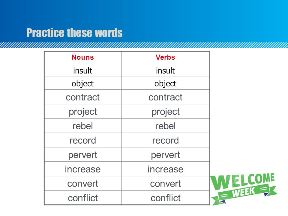 Practice these words NounsVerbs insult object contract project rebel record pervert increase convert conflict