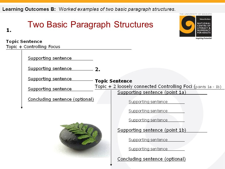 Two Basic Paragraph Structures Learning Outcomes B: Worked examples of two basic paragraph structures.