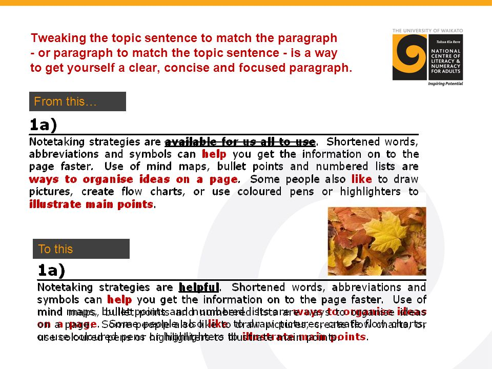 Tweaking the topic sentence to match the paragraph - or paragraph to match the topic sentence - is a way to get yourself a clear, concise and focused paragraph.