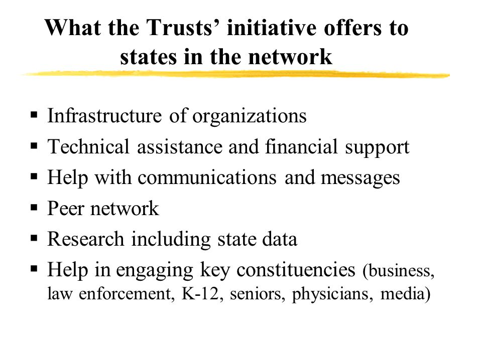 What the Trusts' initiative offers to states in the network  Infrastructure of organizations  Technical assistance and financial support  Help with communications and messages  Peer network  Research including state data  Help in engaging key constituencies (business, law enforcement, K-12, seniors, physicians, media)